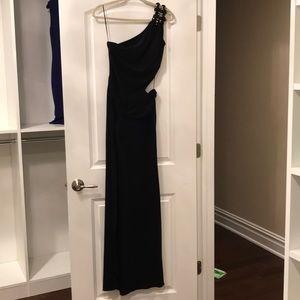 Black one shoulder long dress
